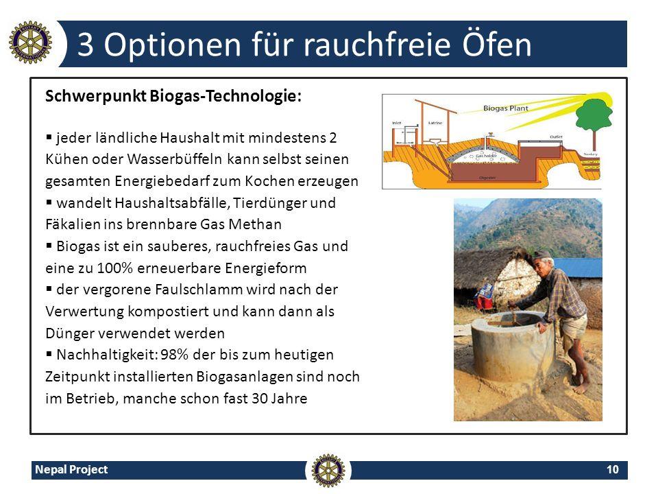 10 Nepal Project 3 Optionen für rauchfreie Öfen Schwerpunkt Biogas-Technologie: jeder ländliche Haushalt mit mindestens 2 Kühen oder Wasserbüffeln kan