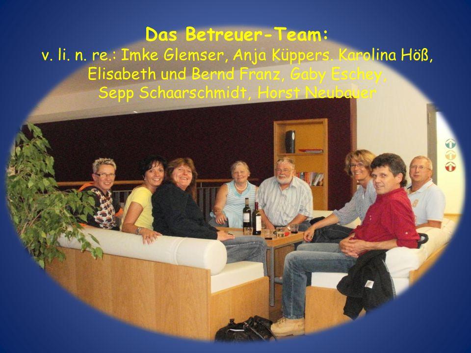 Das Betreuer-Team: v. li. n. re.: Imke Glemser, Anja Küppers. Karolina Höß, Elisabeth und Bernd Franz, Gaby Eschey, Sepp Schaarschmidt, Horst Neubauer