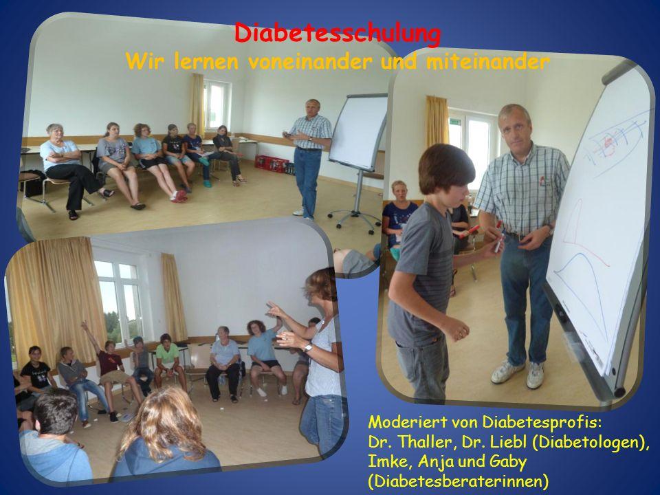 Moderiert von Diabetesprofis: Dr. Thaller, Dr. Liebl (Diabetologen), Imke, Anja und Gaby (Diabetesberaterinnen) Diabetesschulung Wir lernen voneinande