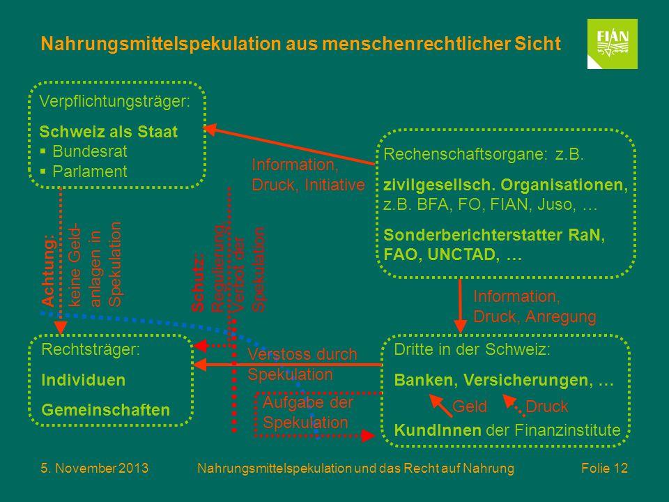 5. November 2013Nahrungsmittelspekulation und das Recht auf Nahrung Folie 12 Nahrungsmittelspekulation aus menschenrechtlicher Sicht Rechenschaftsorga