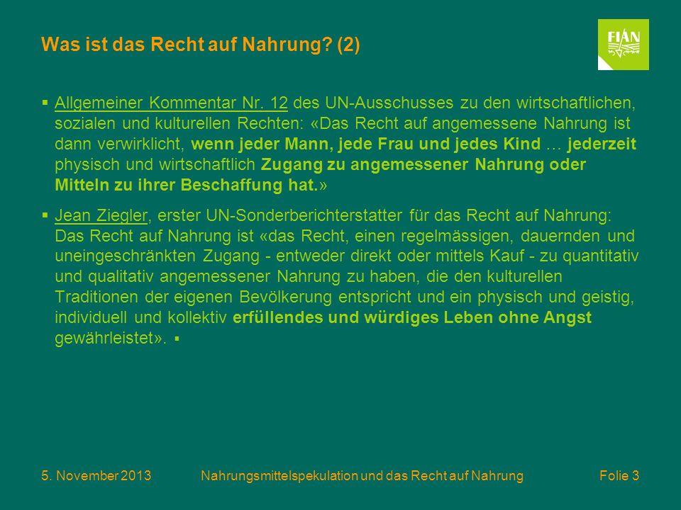5. November 2013Nahrungsmittelspekulation und das Recht auf Nahrung Folie 3 Was ist das Recht auf Nahrung? (2) Allgemeiner Kommentar Nr. 12 des UN-Aus