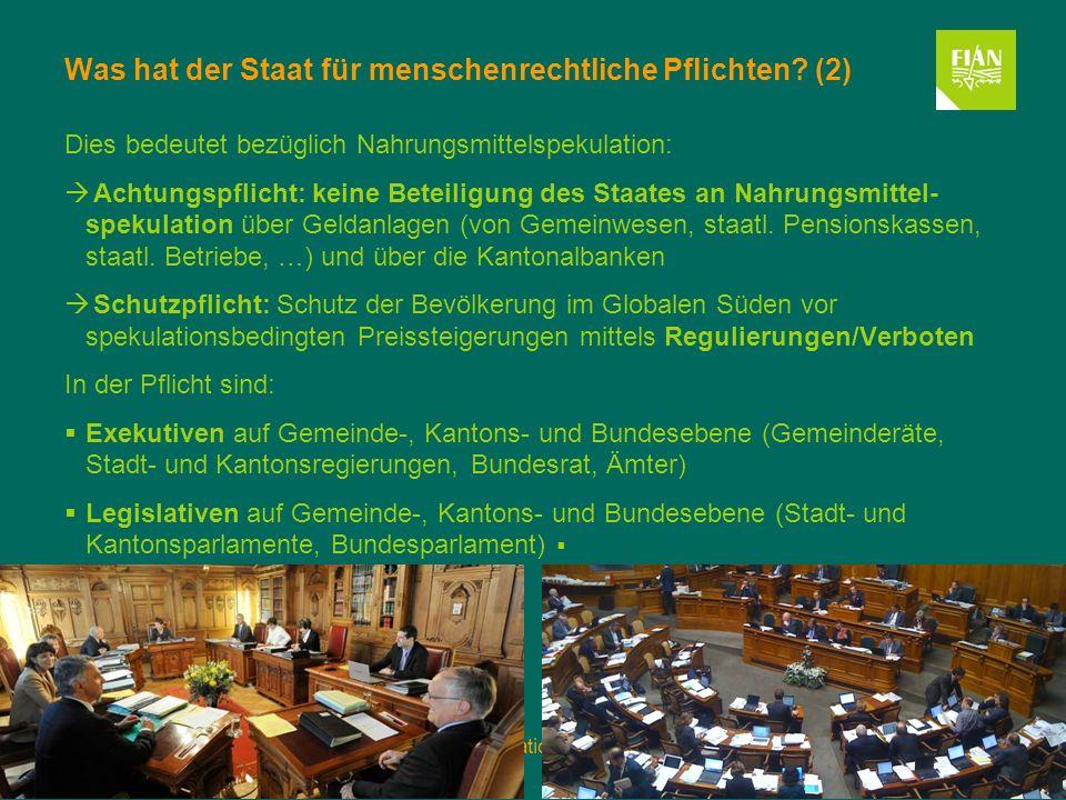 5. November 2013Nahrungsmittelspekulation und das Recht auf Nahrung Folie 6 Was hat der Staat für menschenrechtliche Pflichten? (2) Dies bedeutet bezü