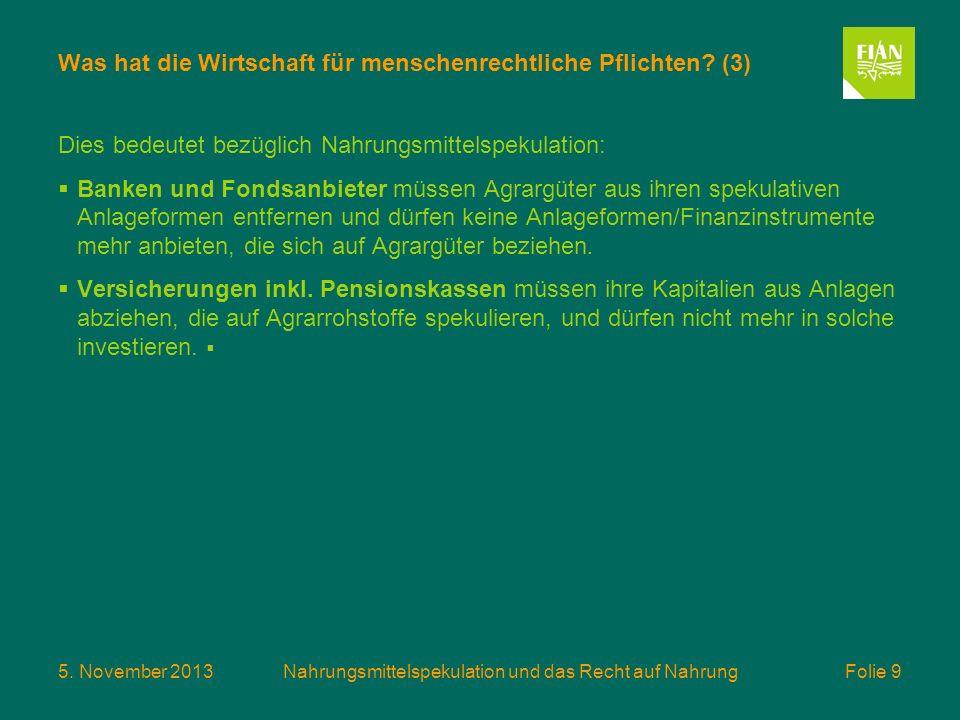 5. November 2013Nahrungsmittelspekulation und das Recht auf Nahrung Folie 9 Was hat die Wirtschaft für menschenrechtliche Pflichten? (3) Dies bedeutet