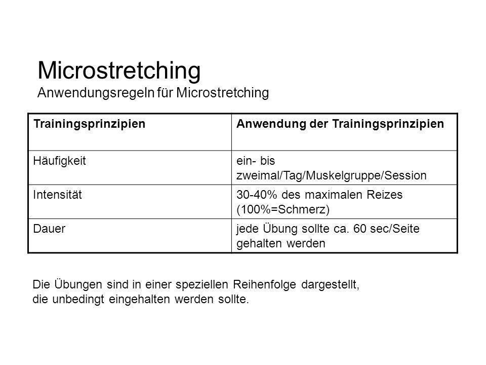 Microstretching Anwendungsregeln für Microstretching TrainingsprinzipienAnwendung der Trainingsprinzipien Häufigkeitein- bis zweimal/Tag/Muskelgruppe/