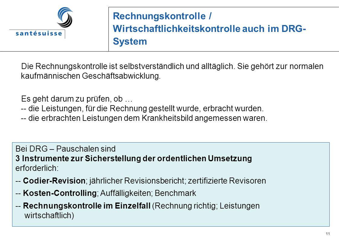 11 Rechnungskontrolle / Wirtschaftlichkeitskontrolle auch im DRG- System Die Rechnungskontrolle ist selbstverständlich und alltäglich. Sie gehört zur