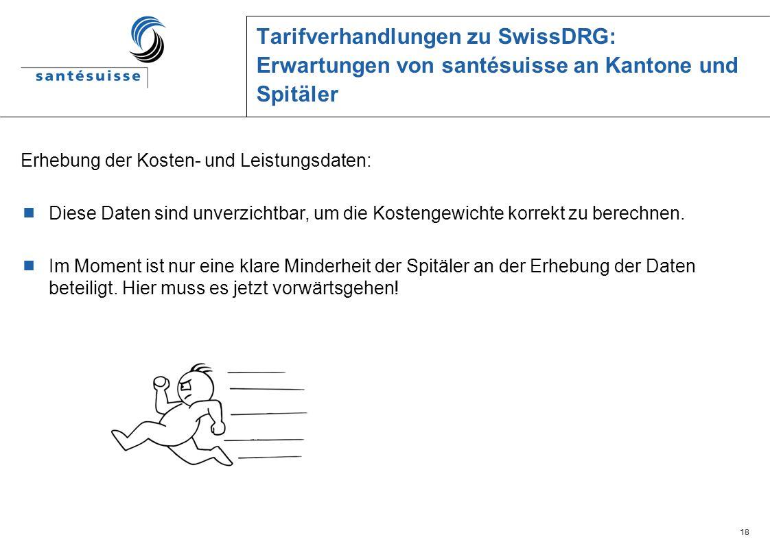 18 Tarifverhandlungen zu SwissDRG: Erwartungen von santésuisse an Kantone und Spitäler Erhebung der Kosten- und Leistungsdaten: Diese Daten sind unver