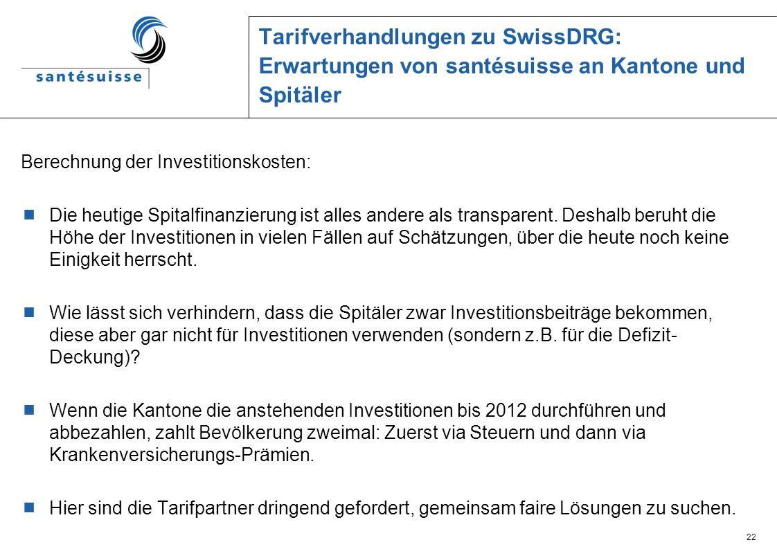 22 Tarifverhandlungen zu SwissDRG: Erwartungen von santésuisse an Kantone und Spitäler Berechnung der Investitionskosten: Die heutige Spitalfinanzieru