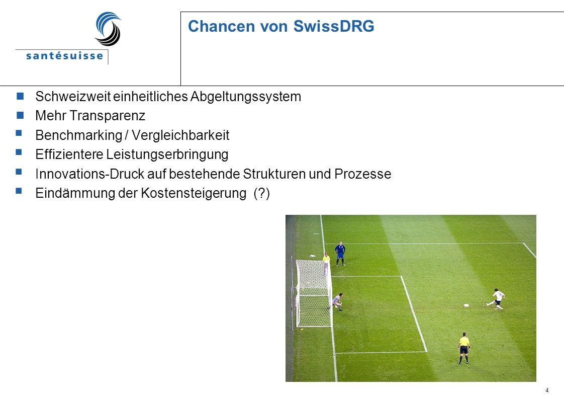 4 Chancen von SwissDRG Schweizweit einheitliches Abgeltungssystem Mehr Transparenz Benchmarking / Vergleichbarkeit Effizientere Leistungserbringung In