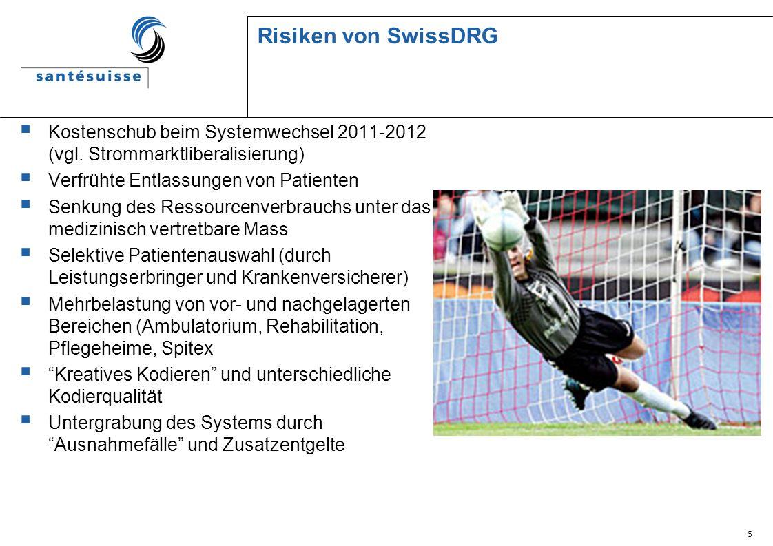 5 Risiken von SwissDRG Kostenschub beim Systemwechsel 2011-2012 (vgl. Strommarktliberalisierung) Verfrühte Entlassungen von Patienten Senkung des Ress