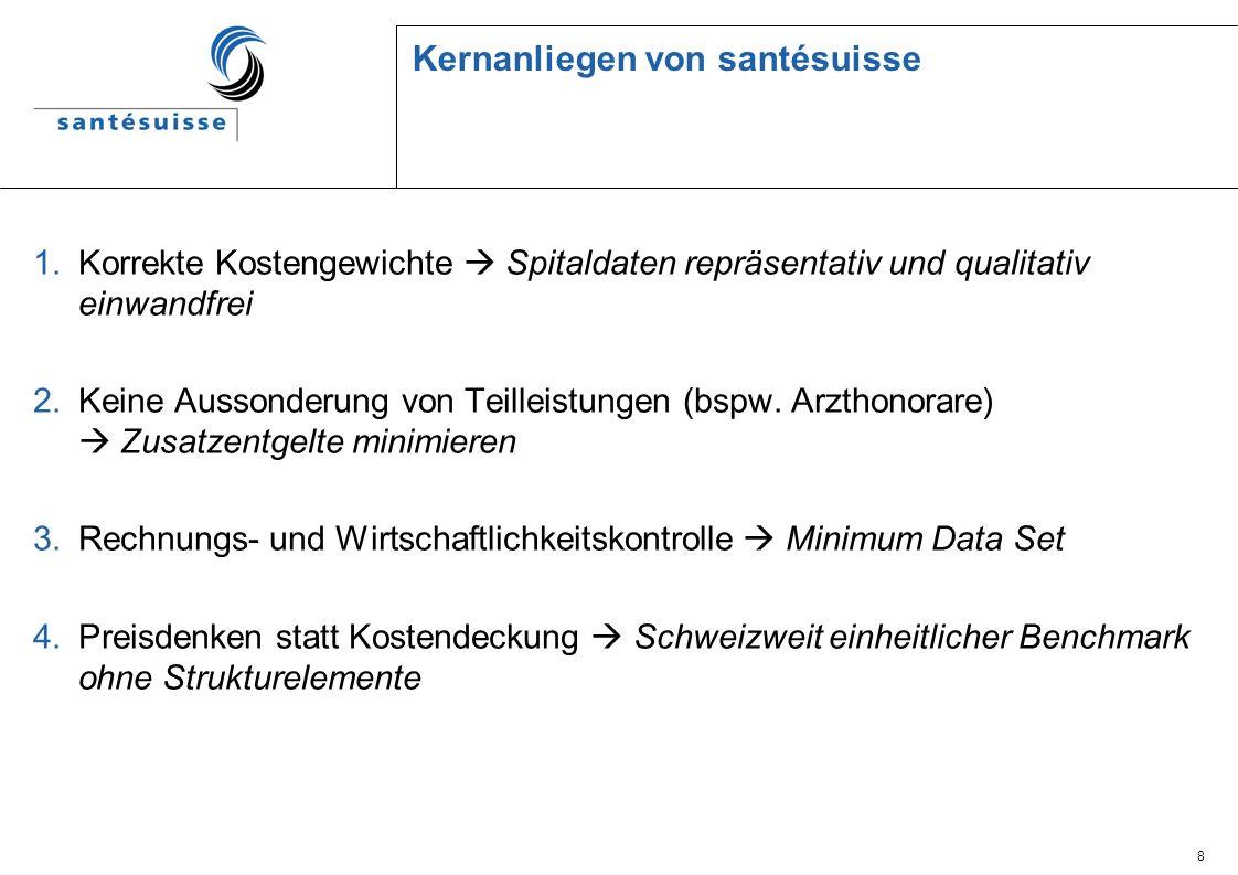 19 Tarifverhandlungen zu SwissDRG: Erwartungen von santésuisse an Kantone und Spitäler SwissDRG-Gesamtdatensatz: Der SwissDRG-Gesamtdatensatz ist eine anonymisierte Sammlung aller SwissDRG- Fälle eines Jahres.