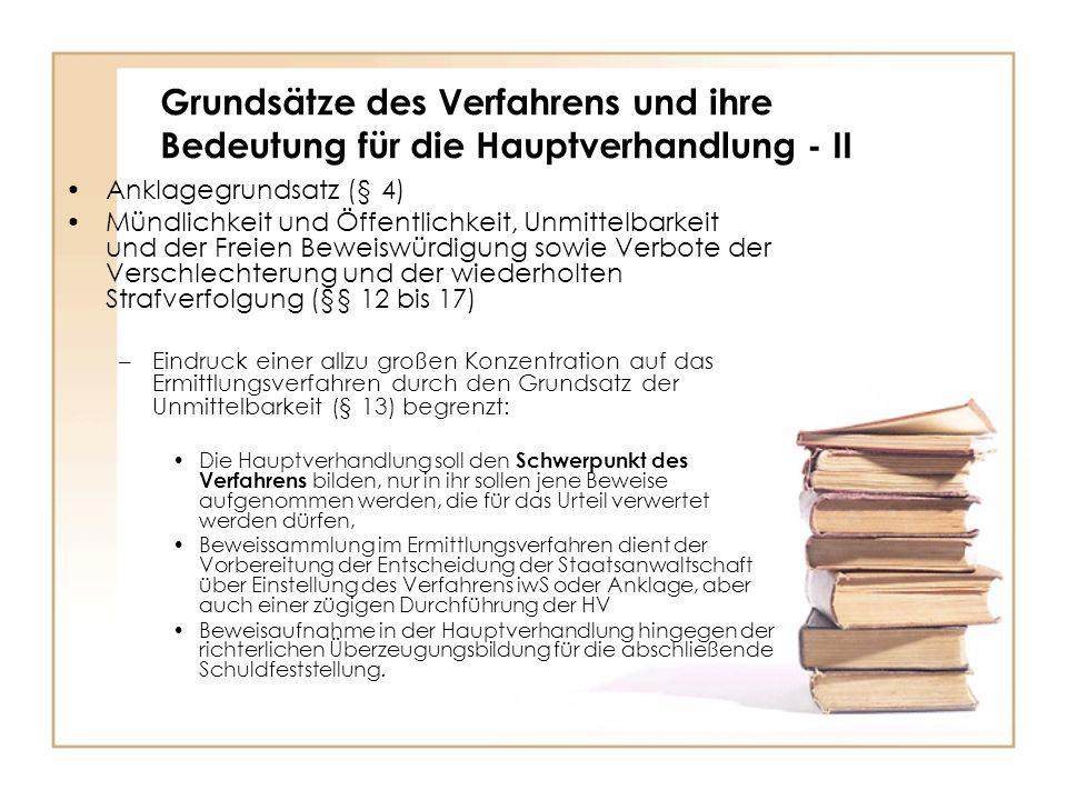 Grundsätze des Verfahrens und ihre Bedeutung für die Hauptverhandlung - II Anklagegrundsatz (§ 4) Mündlichkeit und Öffentlichkeit, Unmittelbarkeit und