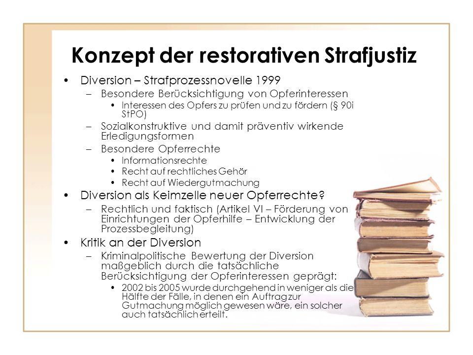 Konzept der restorativen Strafjustiz Diversion – Strafprozessnovelle 1999 –Besondere Berücksichtigung von Opferinteressen Interessen des Opfers zu prü