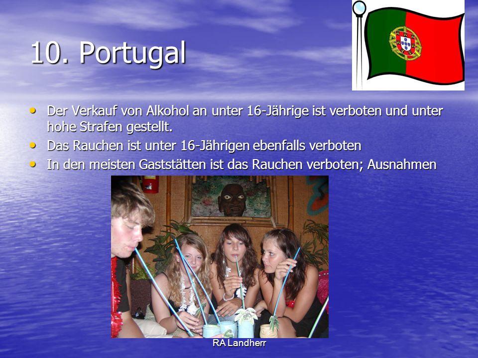 RA Landherr 10. Portugal Der Verkauf von Alkohol an unter 16-Jährige ist verboten und unter hohe Strafen gestellt. Der Verkauf von Alkohol an unter 16