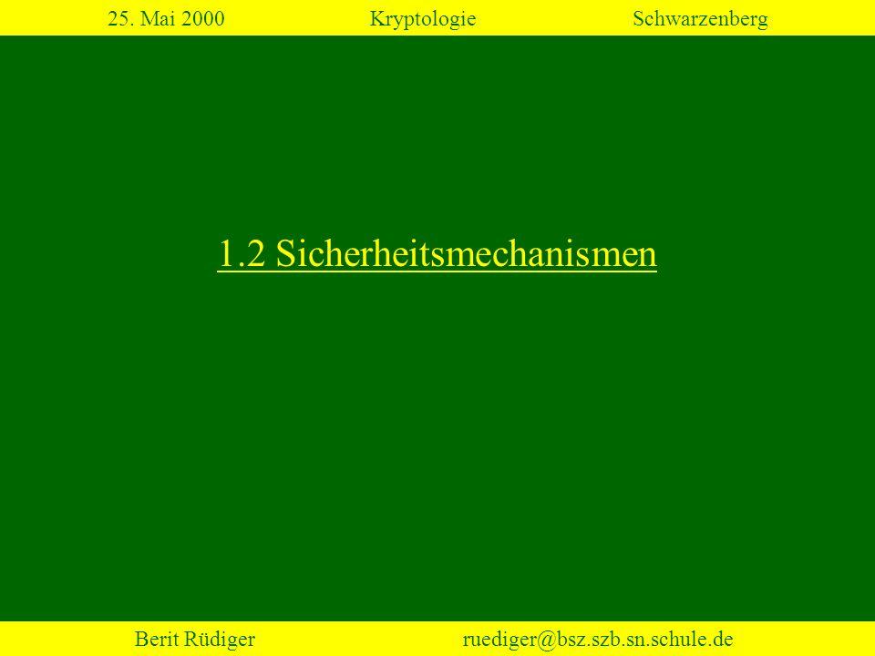 Berit Rüdiger ruediger@bsz.szb.sn.schule.de 2.5 Steganografie 25. Mai 2000KryptologieSchwarzenberg