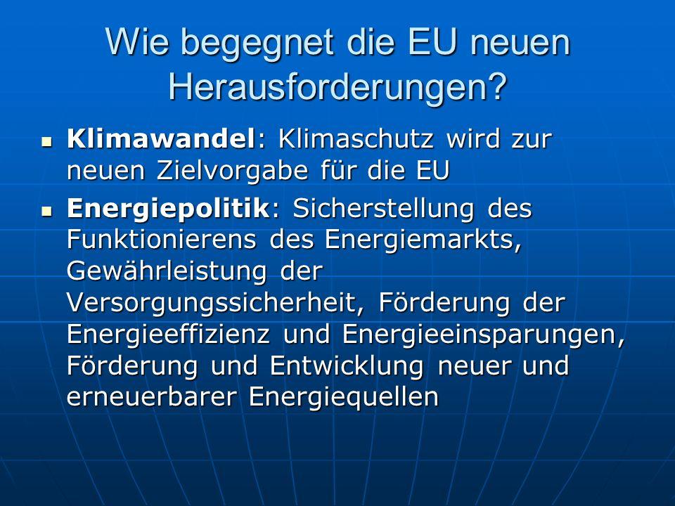 Wie begegnet die EU neuen Herausforderungen? Klimawandel: Klimaschutz wird zur neuen Zielvorgabe für die EU Klimawandel: Klimaschutz wird zur neuen Zi