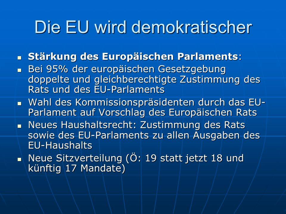 Größerer Einfluss der nationalen Parlamente auf europäische Entscheidungen: Größerer Einfluss der nationalen Parlamente auf europäische Entscheidungen: Möglichkeit des Einspruchs gegen Vorschläge der Europäischen Kommission, wenn ein Vorhaben in die nationale Kompetenz eingreift oder das Subsidiaritätsprinzip verletzt Möglichkeit des Einspruchs gegen Vorschläge der Europäischen Kommission, wenn ein Vorhaben in die nationale Kompetenz eingreift oder das Subsidiaritätsprinzip verletzt