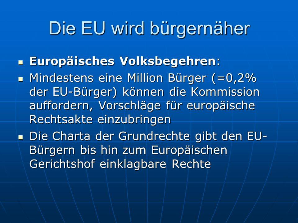Die EU wird handlungsfähiger Entscheidungen im Ministerrat können künftig einfacher fallen: Entscheidungen im Ministerrat können künftig einfacher fallen: Für die meisten Entscheidungen gilt künftig das Prinzip der doppelten Mehrheit: Zustimmung von mindestens 55% der Mitgliedstaaten (= 15 Staaten), die gleichzeitig 65% der Gesamtbevölkerung der EU vertreten Für die meisten Entscheidungen gilt künftig das Prinzip der doppelten Mehrheit: Zustimmung von mindestens 55% der Mitgliedstaaten (= 15 Staaten), die gleichzeitig 65% der Gesamtbevölkerung der EU vertreten