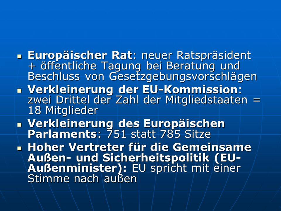 Die EU wird transparenter Klarere Zuständigkeitsaufteilung zwischen den Mitgliedstaaten und der EU: Klarere Zuständigkeitsaufteilung zwischen den Mitgliedstaaten und der EU: Drei Kompetenzkategorien: Drei Kompetenzkategorien: - ausschließliche Zuständigkeit der EU (zB Zollunion, Währungspolitik für Euro-Zone); - geteilte Zuständigkeit (zB Landwirtschaft und Fischerei, Umwelt); - Unterstützungs-, Koordinierungs- und Ergänzungsmaßnahmen (zB Kultur, Bildung) Nicht ausdrücklich der EU übertragene Kompetenzen bleiben bei den Mitgliedstaaten Nicht ausdrücklich der EU übertragene Kompetenzen bleiben bei den Mitgliedstaaten