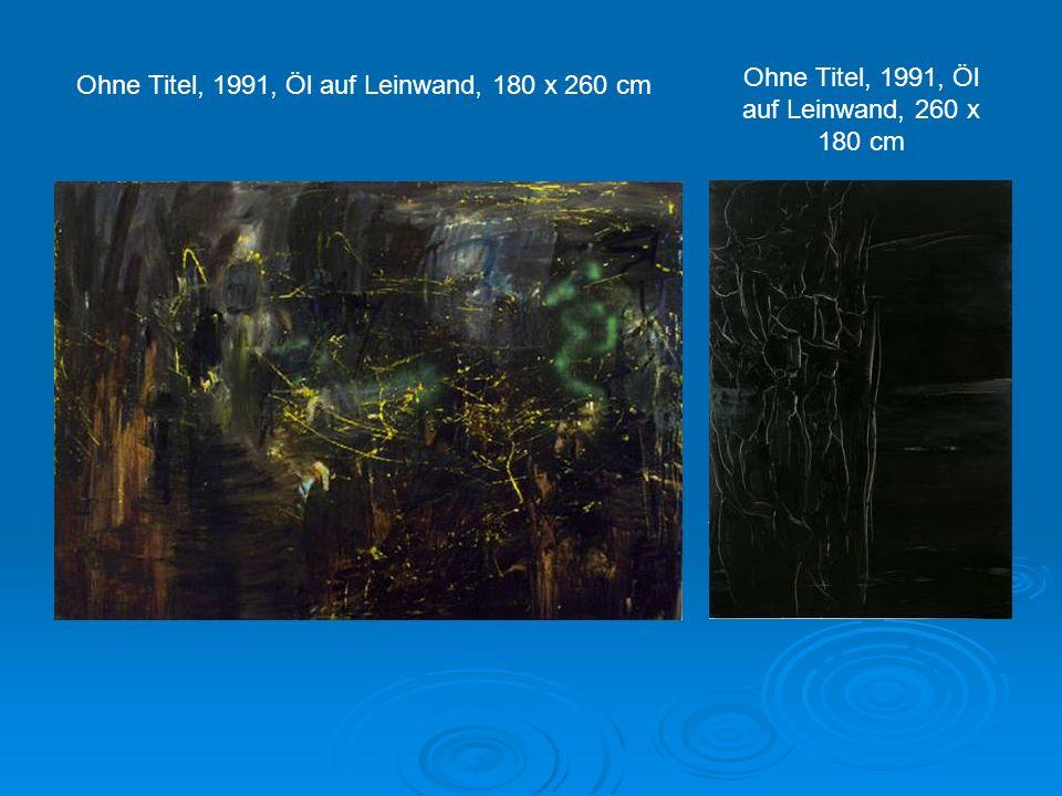 Ohne Titel, 1994, Öl auf Leinwand, 60 x 80 cm Ohne Titel, 2006, Öl auf Leinwand, 200 x 300 cm, Sammlung Union Investment