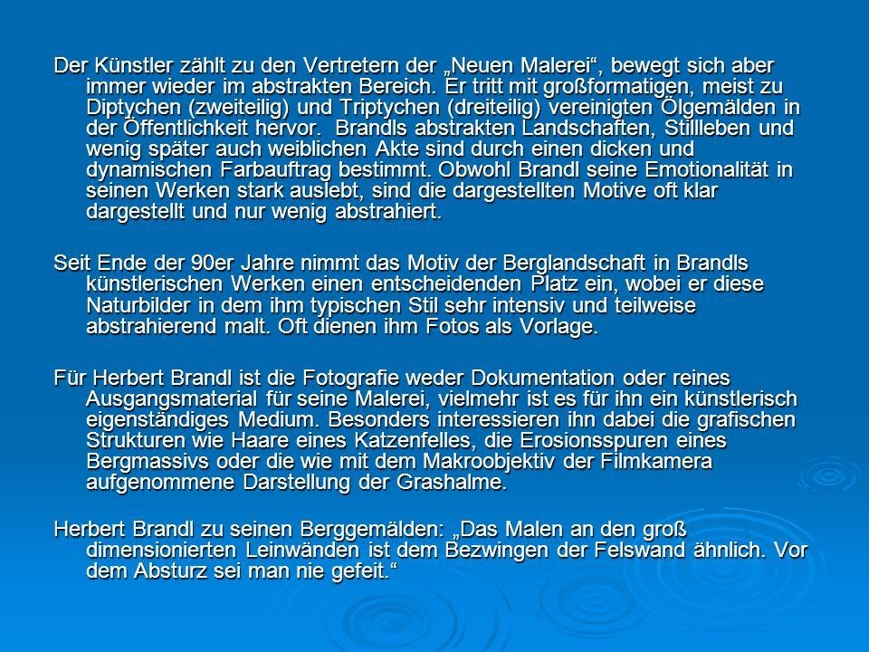 Biographie Der österreichische Maler, Grafiker und Architekt Herbert Brandl wird 1959 in Graz geboren. 1978 beginnt er an der Hochschule für Angewandt