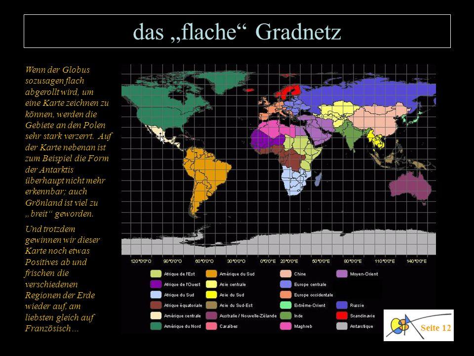 das flache Gradnetz Seite 12 Wenn der Globus sozusagen flach abgerollt wird, um eine Karte zeichnen zu können, werden die Gebiete an den Polen sehr st