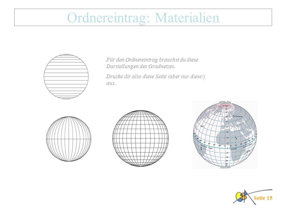 Ordnereintrag: Materialien Seite 15 Für den Ordnereintrag brauchst du diese Darstellungen des Gradnetzes. Drucke dir also diese Seite (aber nur diese!