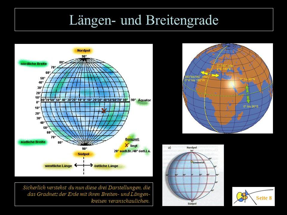 Längen- und Breitengrade Seite 8 Sicherlich verstehst du nun diese drei Darstellungen, die das Gradnetz der Erde mit ihren Breiten- und Längen- kreise