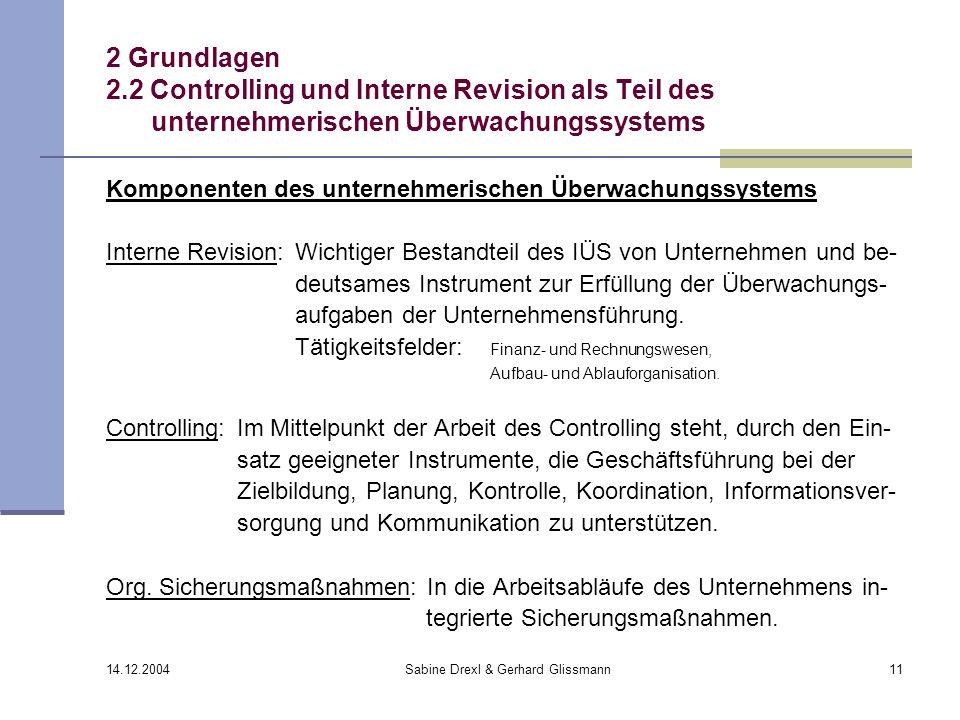 14.12.2004 Sabine Drexl & Gerhard Glissmann11 2 Grundlagen 2.2 Controlling und Interne Revision als Teil des unternehmerischen Überwachungssystems Kom