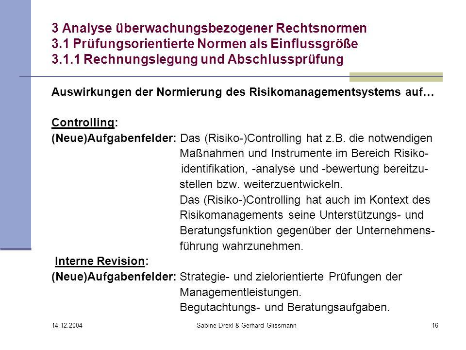 14.12.2004 Sabine Drexl & Gerhard Glissmann16 3 Analyse überwachungsbezogener Rechtsnormen 3.1 Prüfungsorientierte Normen als Einflussgröße 3.1.1 Rech