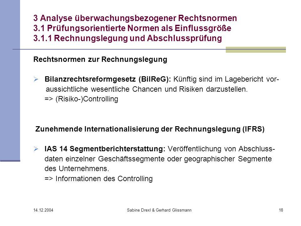 14.12.2004 Sabine Drexl & Gerhard Glissmann18 3 Analyse überwachungsbezogener Rechtsnormen 3.1 Prüfungsorientierte Normen als Einflussgröße 3.1.1 Rech