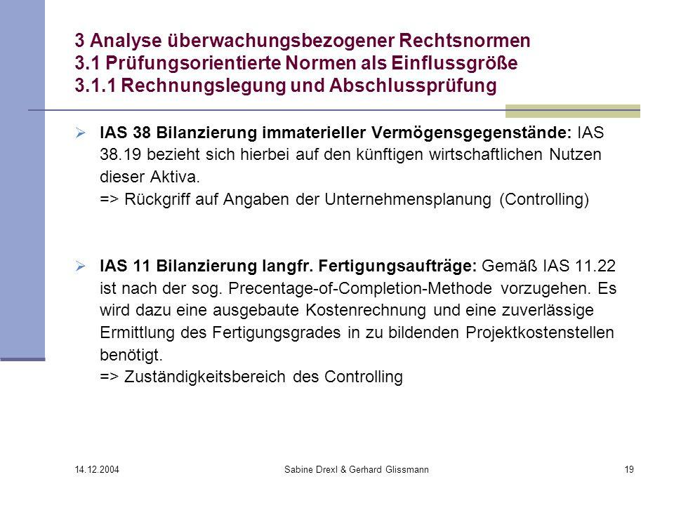 14.12.2004 Sabine Drexl & Gerhard Glissmann19 3 Analyse überwachungsbezogener Rechtsnormen 3.1 Prüfungsorientierte Normen als Einflussgröße 3.1.1 Rech