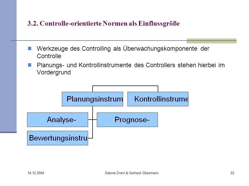 14.12.2004 Sabine Drexl & Gerhard Glissmann22 3.2. Controlle-orientierte Normen als Einflussgröße Werkzeuge des Controlling als Überwachungskomponente