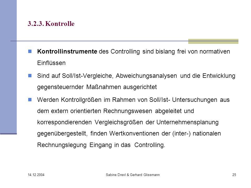 14.12.2004 Sabine Drexl & Gerhard Glissmann25 3.2.3. Kontrolle Kontrollinstrumente des Controlling sind bislang frei von normativen Einflüssen Sind au
