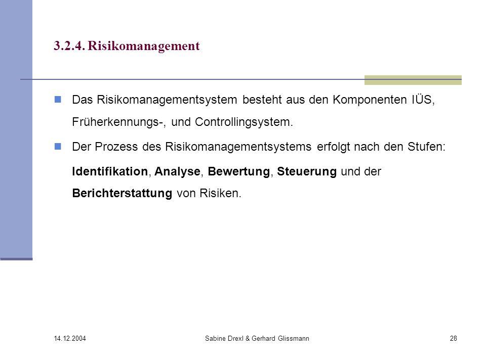 14.12.2004 Sabine Drexl & Gerhard Glissmann28 3.2.4. Risikomanagement Das Risikomanagementsystem besteht aus den Komponenten IÜS, Früherkennungs-, und
