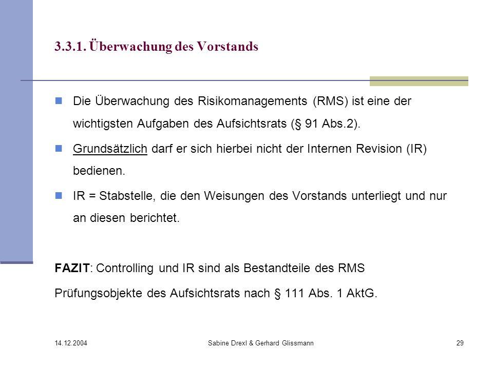 14.12.2004 Sabine Drexl & Gerhard Glissmann29 3.3.1. Überwachung des Vorstands Die Überwachung des Risikomanagements (RMS) ist eine der wichtigsten Au