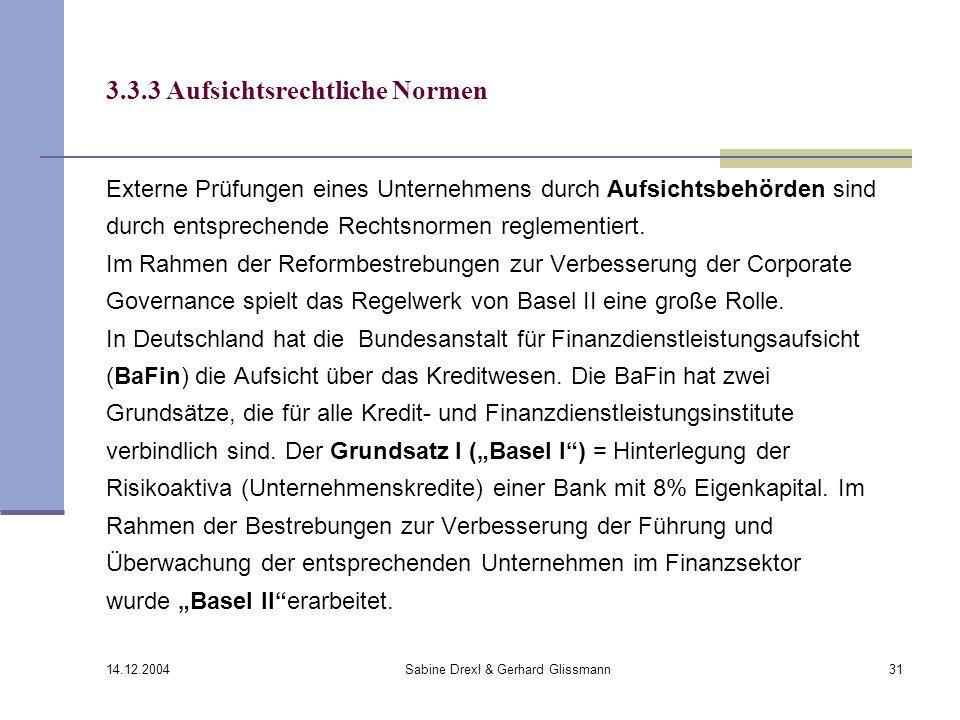 14.12.2004 Sabine Drexl & Gerhard Glissmann31 3.3.3 Aufsichtsrechtliche Normen Externe Prüfungen eines Unternehmens durch Aufsichtsbehörden sind durch