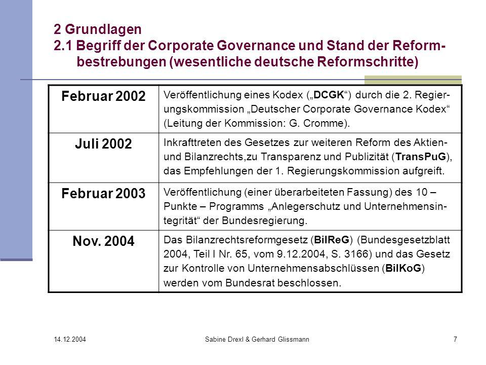 14.12.2004 Sabine Drexl & Gerhard Glissmann7 2 Grundlagen 2.1 Begriff der Corporate Governance und Stand der Reform- bestrebungen (wesentliche deutsch