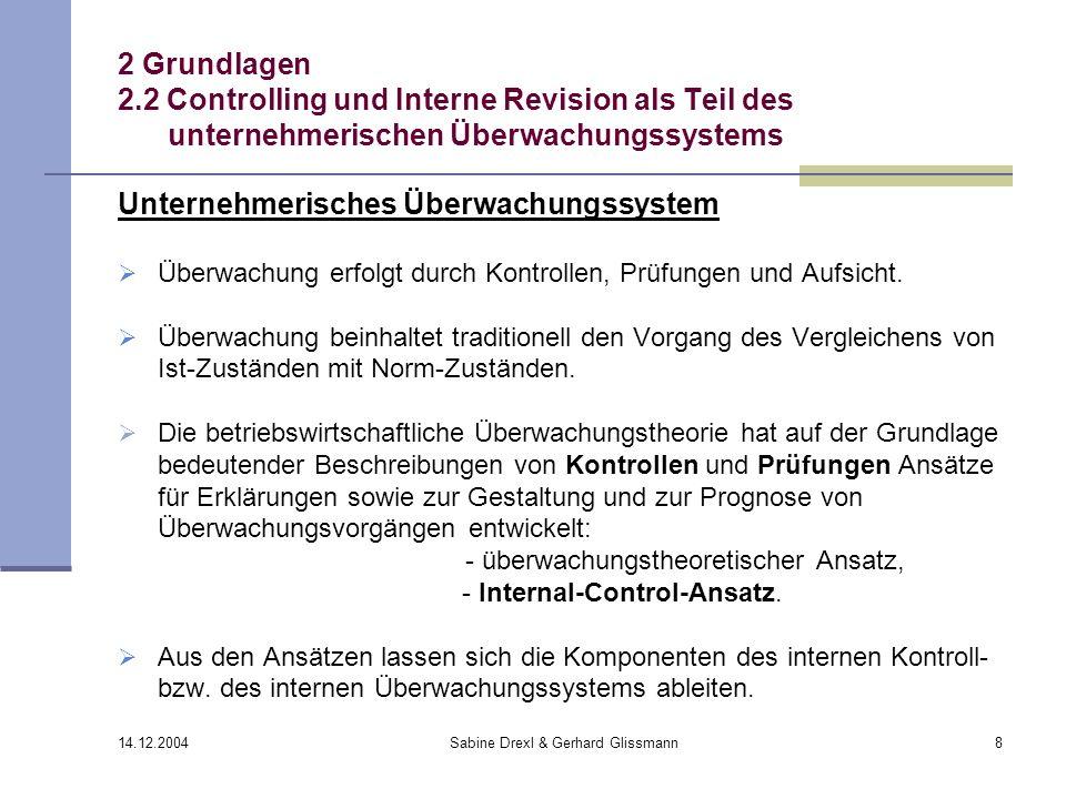 14.12.2004 Sabine Drexl & Gerhard Glissmann8 2 Grundlagen 2.2 Controlling und Interne Revision als Teil des unternehmerischen Überwachungssystems Unte