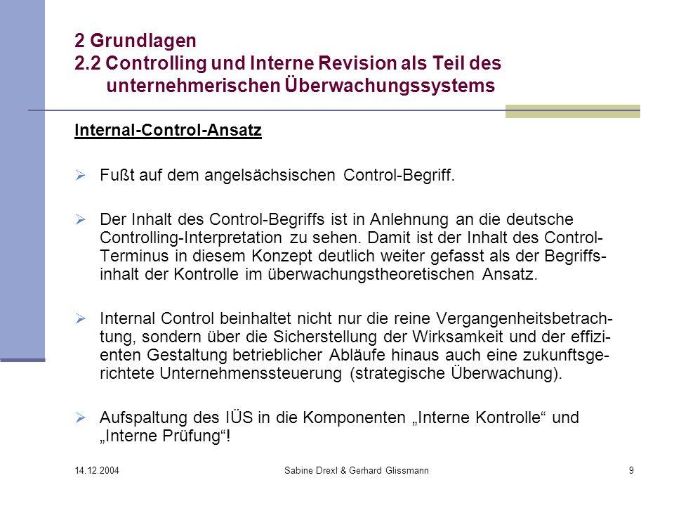 14.12.2004 Sabine Drexl & Gerhard Glissmann9 2 Grundlagen 2.2 Controlling und Interne Revision als Teil des unternehmerischen Überwachungssystems Inte