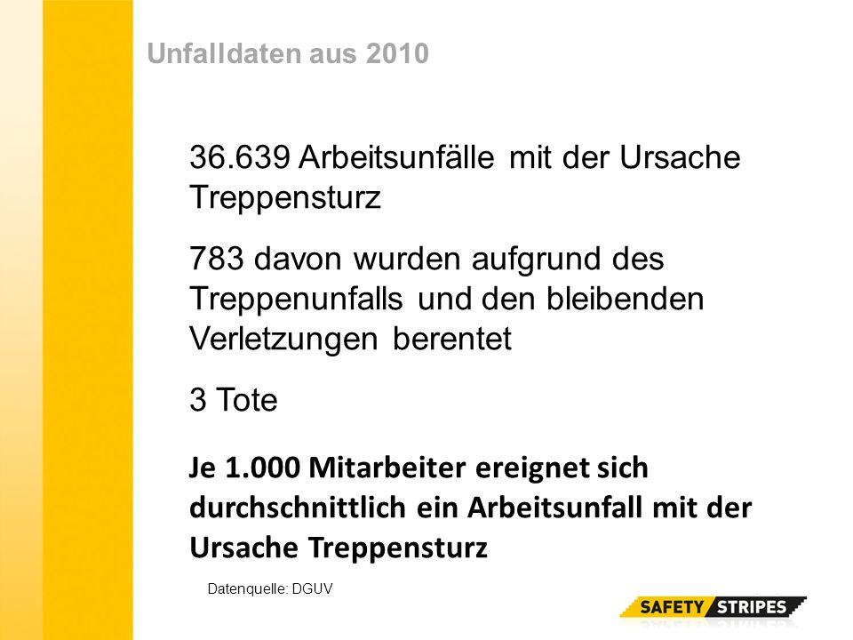 Unfalldaten aus 2010 36.639 Arbeitsunfälle mit der Ursache Treppensturz 783 davon wurden aufgrund des Treppenunfalls und den bleibenden Verletzungen b