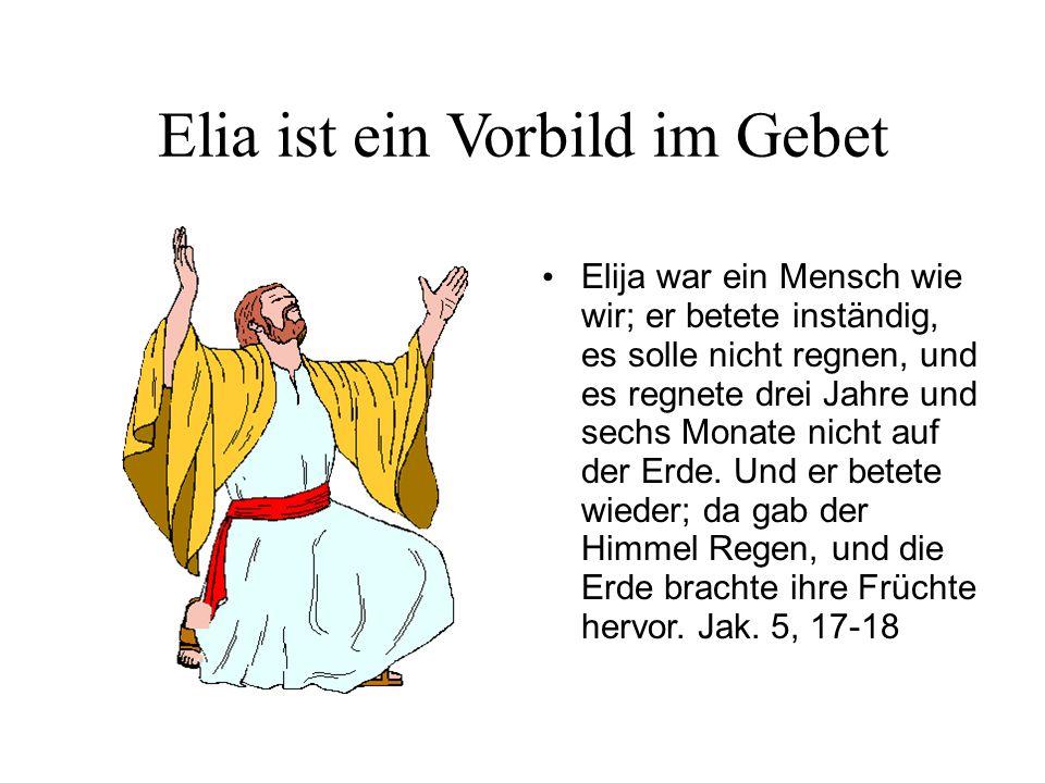 Elia ist ein Vorbild im Gebet Elija war ein Mensch wie wir; er betete inständig, es solle nicht regnen, und es regnete drei Jahre und sechs Monate nic