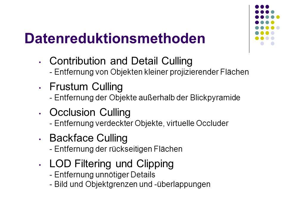 Datenreduktionsmethoden Contribution and Detail Culling - Entfernung von Objekten kleiner projizierender Flächen Frustum Culling - Entfernung der Objekte außerhalb der Blickpyramide Occlusion Culling - Entfernung verdeckter Objekte, virtuelle Occluder Backface Culling - Entfernung der rückseitigen Flächen LOD Filtering und Clipping - Entfernung unnötiger Details - Bild und Objektgrenzen und -überlappungen