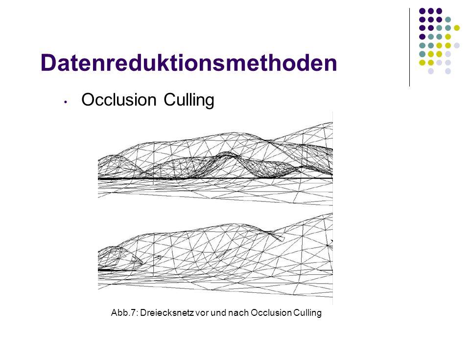 Datenreduktionsmethoden Abb.7: Dreiecksnetz vor und nach Occlusion Culling Occlusion Culling