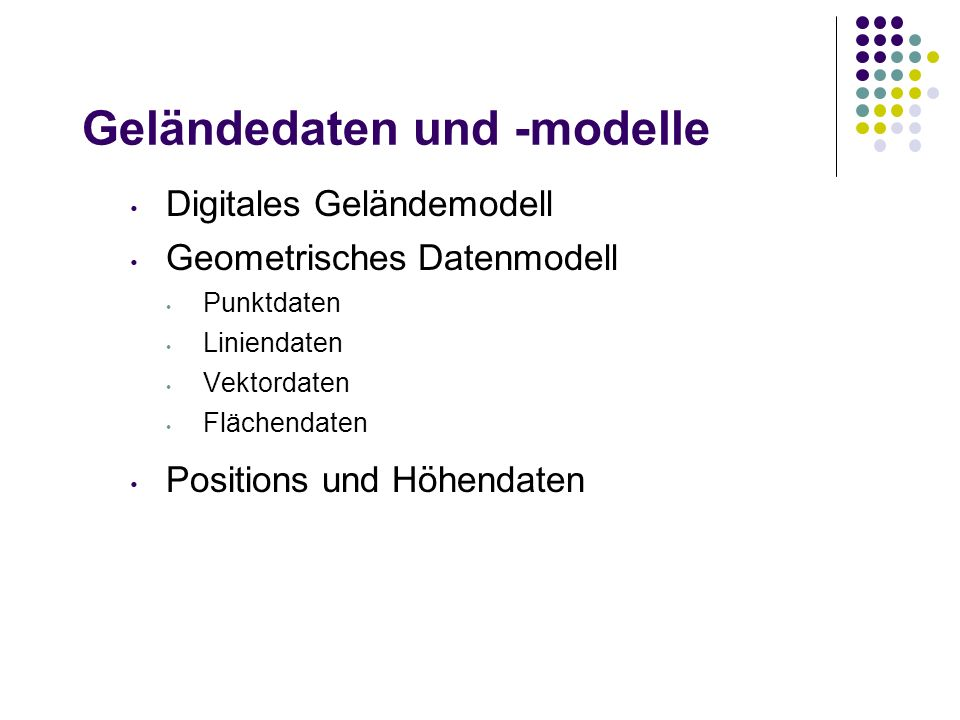 Geländedaten und -modelle Digitales Geländemodell Geometrisches Datenmodell Punktdaten Liniendaten Vektordaten Flächendaten Positions und Höhendaten