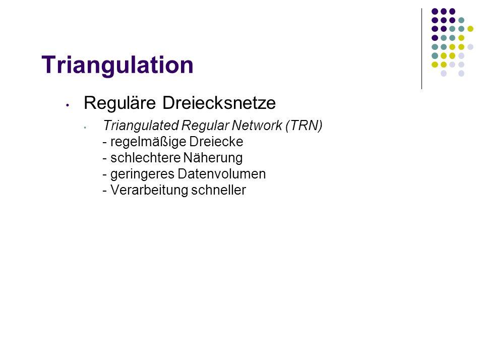 Triangulation Reguläre Dreiecksnetze Triangulated Regular Network (TRN) - regelmäßige Dreiecke - schlechtere Näherung - geringeres Datenvolumen - Verarbeitung schneller