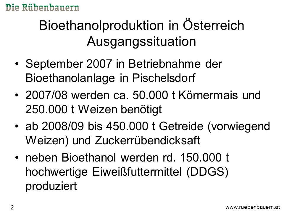 www.ruebenbauern.at 2 Bioethanolproduktion in Österreich Ausgangssituation September 2007 in Betriebnahme der Bioethanolanlage in Pischelsdorf 2007/08 werden ca.