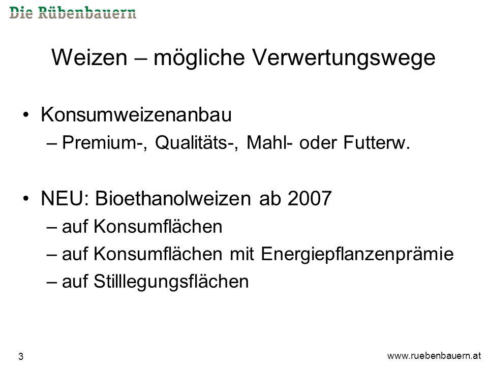 www.ruebenbauern.at 3 Weizen – mögliche Verwertungswege Konsumweizenanbau –Premium-, Qualitäts-, Mahl- oder Futterw.