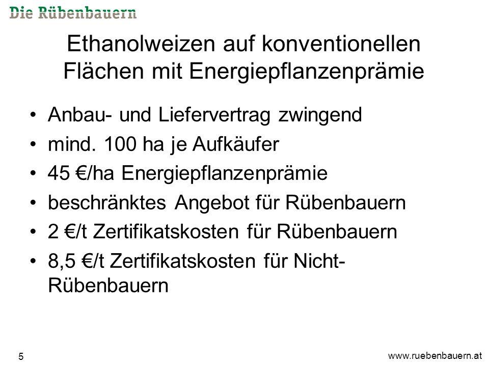 www.ruebenbauern.at 5 Ethanolweizen auf konventionellen Flächen mit Energiepflanzenprämie Anbau- und Liefervertrag zwingend mind.