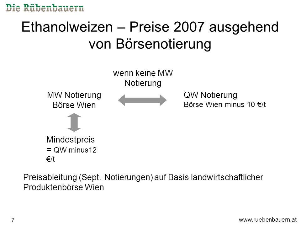 www.ruebenbauern.at 7 Ethanolweizen – Preise 2007 ausgehend von Börsenotierung QW Notierung Börse Wien minus 10 /t MW Notierung Börse Wien Mindestpreis = QW minus12 /t wenn keine MW Notierung Preisableitung (Sept.-Notierungen) auf Basis landwirtschaftlicher Produktenbörse Wien
