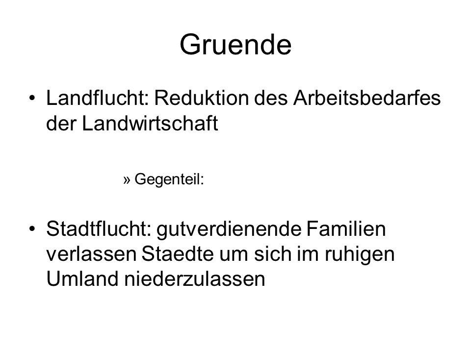 Gruende Landflucht: Reduktion des Arbeitsbedarfes der Landwirtschaft »Gegenteil: Stadtflucht: gutverdienende Familien verlassen Staedte um sich im ruh